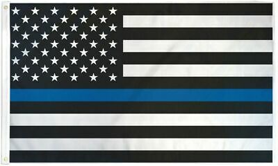 """""""USA THIN BLUE LINE"""" flag 3x5 ft poly duty honor courage"""