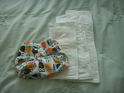 NEW Made in UK Reusable PUL Wrap Cover birth to potty + 3 Sized Zorb Inserts OWL