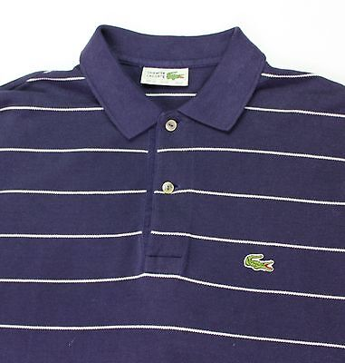 Vintage Lacoste Polo Shirt Blue And White Striped Size L / Xl