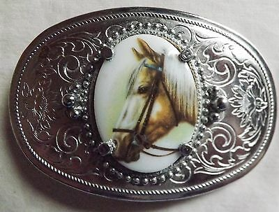 Silver Toned Engraved Western Belt Buckle with Horse FREE SHIPPING!