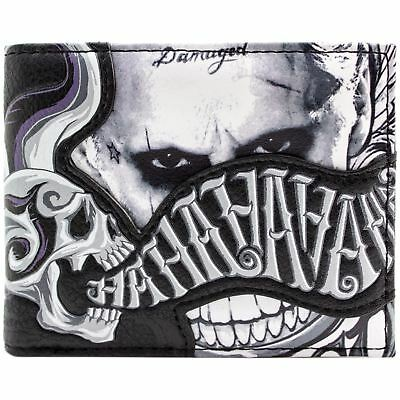 New Official Suicide Squad The Joker Laughing Skull Black Bi-Fold Wallet