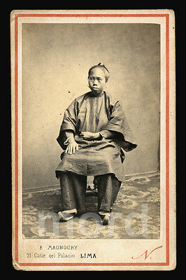 RARE 1860s CDV Photo - China / Chinese Woman in LIMA PERU - Bound Feet?