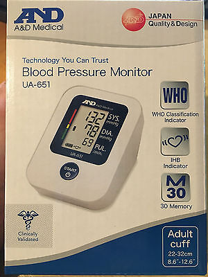 A and D AND Medical Automatic Classic LCD Blood Pressure Monitor UA-651 NEW
