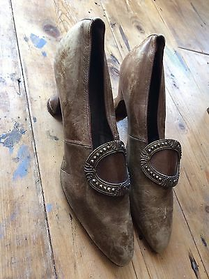 Edwardian Brown Leather Shoes With Steel Heels Vintage Jenners Size 4