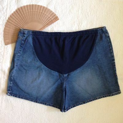 Motherhood Maternity Denim Jean Shorts Stretch Panel Inside Drawstring Plus 3X