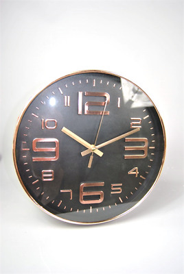 Wall Clock Copper Metal style Rim with Black Face and Copper Numbers