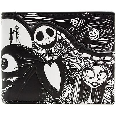 New Official Nightmare Before Christmas Jack & Sally Black Bi-Fold Wallet