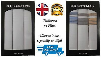 Mens Hankerchiefs / Hankies Pack Of 3-6 100% Pure Cotton In Presentation Box