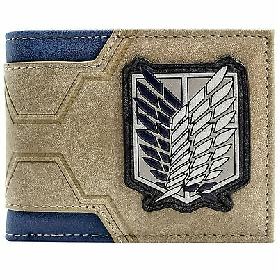 New Official Attack On Titan Survey Corps Japanese Embossed Brown Bi-Fold Wallet