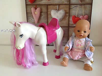 Baby Born Interactive Musical Unicorn Horse With Baby Born Doll 💖