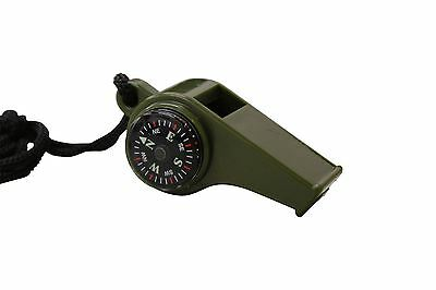 GI Military Survival Whistle with compass and temperature gauge