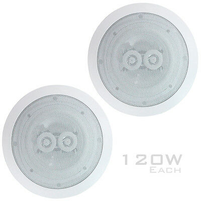 1 PAIR 120W Ceiling Speaker 8 Ohm 2 Way Speakers Retail Shop / Home Surround