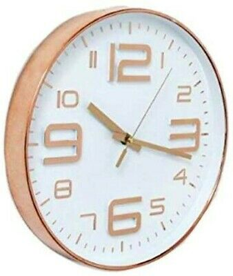 Wall Clock Copper Metal style Rim with White face and Copper Numbers
