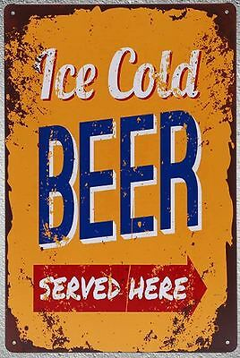 Targa ice cold beer stampa metallo vintage retrò pub bar poster arredo