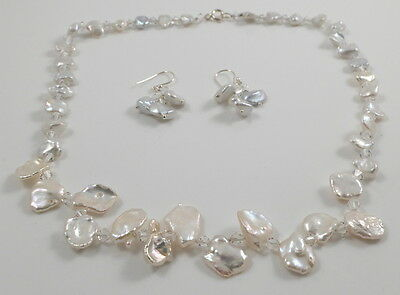 Cream White Keshi Petal Pearl & Crystal Necklace & Earring Set