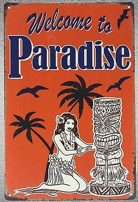 "Targa ""welcome to paradise"" stampa metallo vintage retrò pub bar poster arredo"