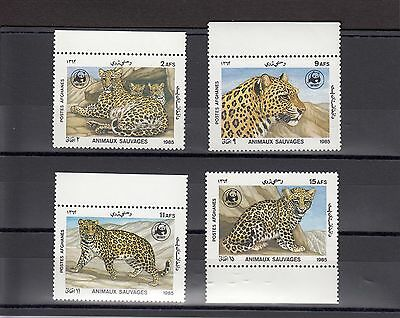 Timbre Stamp 4 Afghanistan Y&t#1271-74 Fauve Felin Wwf Neuf**/mnh-Mint 1985 ~A06