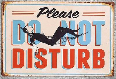"Targa ""please do not disturb"" stampa metallo vintage retrò pub bar poster arredo"