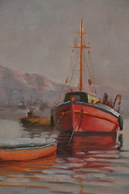 VINTAGE OIL on CANVAS PAINTING of BOATS in HARBOR SIGNED and FRAMED