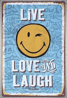 "Targa ""live love and laugh"" stampa metallo vintage retrò pub bar poster arredo"