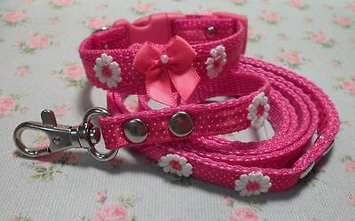 Gorgeous Pink Daisy Dog Collar & Lead Set -Hot Pink/Baby Pink- Chihuahua XXS XS