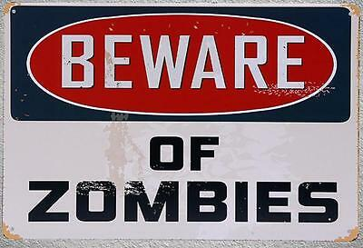 Targa beware of zombies stampa metallo vintage retrò pub bar poster arredo