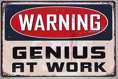 Targa warning genius at work stampa metallo vintage retrò pub bar poster arredo
