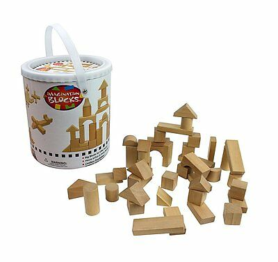 Wooden Blocks - 42 Pc Wood Buliding Block Set with Carrying Bag and Container -
