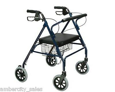 Drive Go Lite WIDE Bariatric STEEL Rollator Heavy Duty Walker 500LB Drive Blue