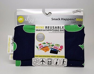 """ITZY RITZY Snack Happens Mini Reusable Snack Bag """"Whale Watching"""" 2-pack - NEW"""