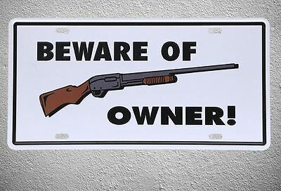 Targa Beware of owner stampa metallo vintage retrò pub bar poster arredo