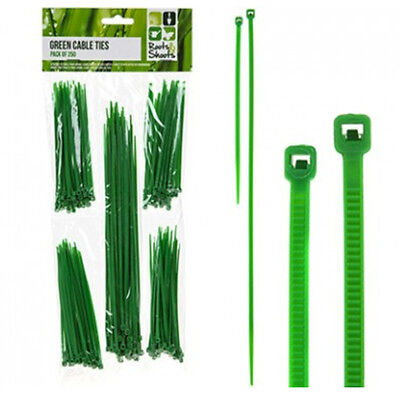 250pc GREEN MINI CABLE ZIP TIES GARDEN HOME PLANT CANE SUPPORT TRAINING STRAPS