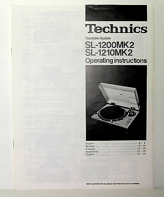 Technics Sl 1200 1210 Mk2 Operating Instructions User Manual Manuale Istruzioni
