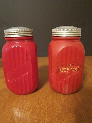Authentic Depression/Antique Glass Frosted Red LARGE Salt & Pepper Shakers