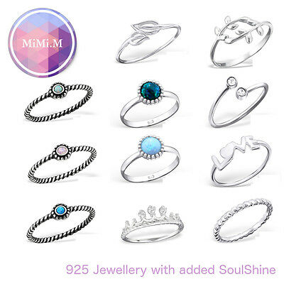 Solid Sterling Silver Opal Crystal Leaf LOVE Crown Stacking Midi Ring Wrap