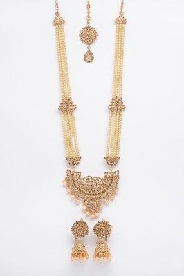 Brand New Bollywood Indian Bridal Necklace Set With Earring And Tikka