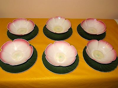 """6 RARE BRANKSOME FLOWER SHAPED BOWLS&STANDS bowl dia 5.25"""" , used in VGC,"""