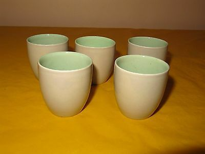 5 VINTAGE BRANKSOME Grey&Green EGG CUPS firing flaw in base of 1 cup,used in VGC