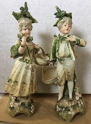 """E W Turn Wien Man And Woman Figurine Statue Pair Made In Austria 11 1/2""""-Height"""