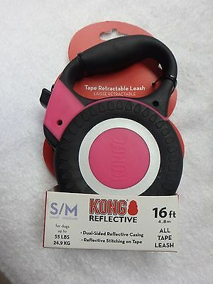 Kong Reflective 16 Ft Small / Medium  Retractable Tape Leash Dogs Up To 55 Lbs