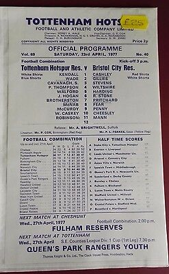 1976-77 TOTTENHAM HOTSPUR - RESERVES vs.  BRISTOL CITY  VGC NO. 40  NEAT PENCIL