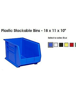 "Uline BLUE Plastic Stackable Bins 18"" x 11"" x 10"" sold separately or in pallet"