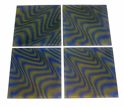4pc PSYCHEDELiC VtG MiD CENTURY GREEN BLUE 3-D OPTiC OP ART 8x8 MAGiC GLASS TiLE