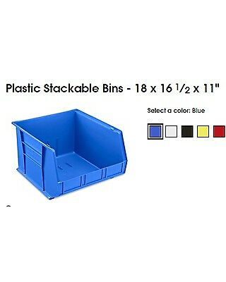 Uline Blue Stackable Bin 18 x 16 1/2 x 11 - USED