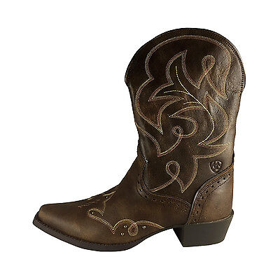 NEW Ariat Girls Womens Brown Cowgirl Boots Western Leather Youth Size 5