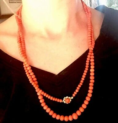 55g! 14k gold LONG vintage natural NO dye salmon rich round coral beads necklace