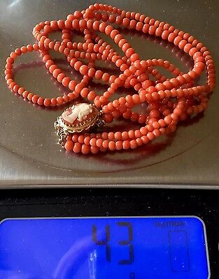 Designer 14k  gold no dye natural rich SALMON coral beads necklace carved Cameo