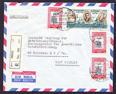 1967 Jordan Jordanian stamps on a registered cover from Irbed to West Germany