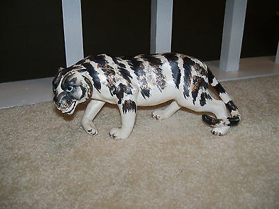 Japan Tiger Sculpture Figure Porcelain? Black White