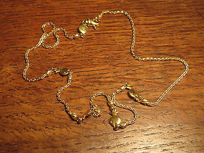 Ancien collier de femme chaine en or 18 carats maille poissons old gold necklace